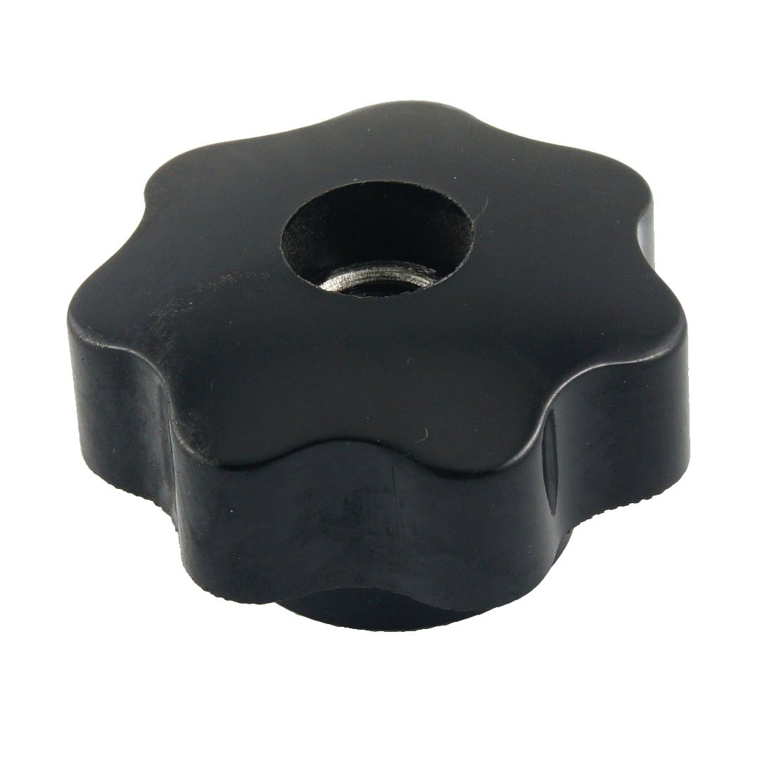 M10 10mm Dia Thread Black Plastic Star Head Clamping Knob Grip