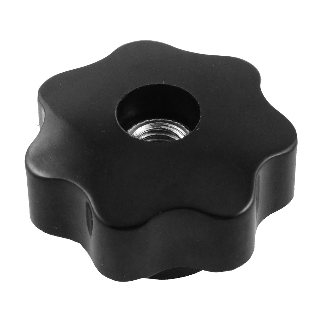 40mm Dia Black Plastic Star Head Clamping Knob Black Silver Tone