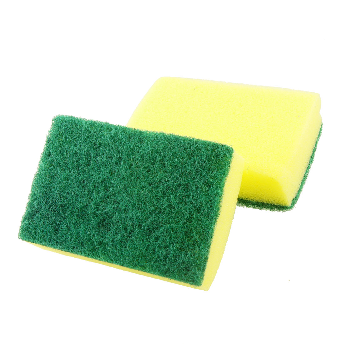 Kitchenware Bowl Dish Cleaning Soft Scrub Sponge Pad Green Yellow