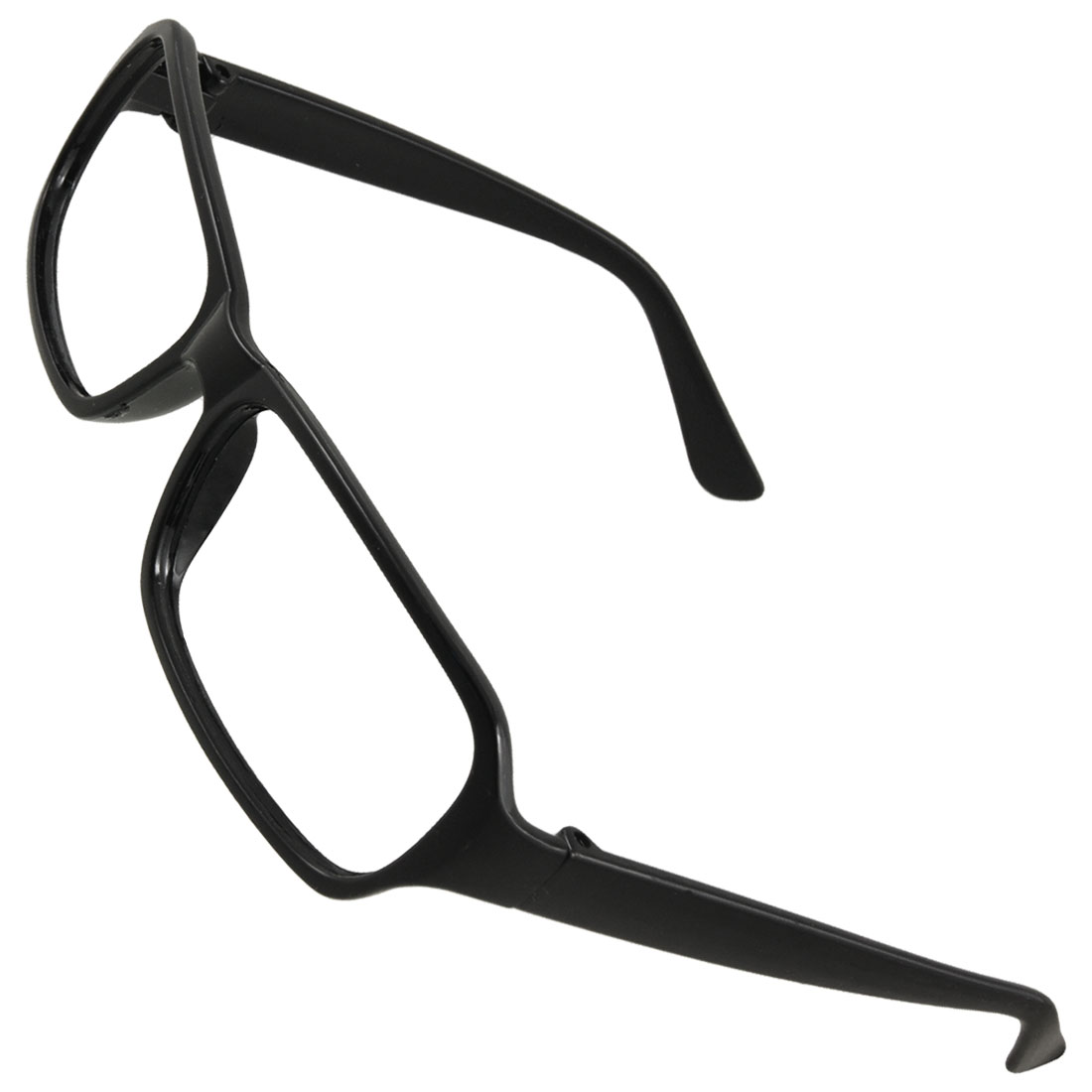 Woman Black Plastic Square Rim Eyeglasses Glasses Frame