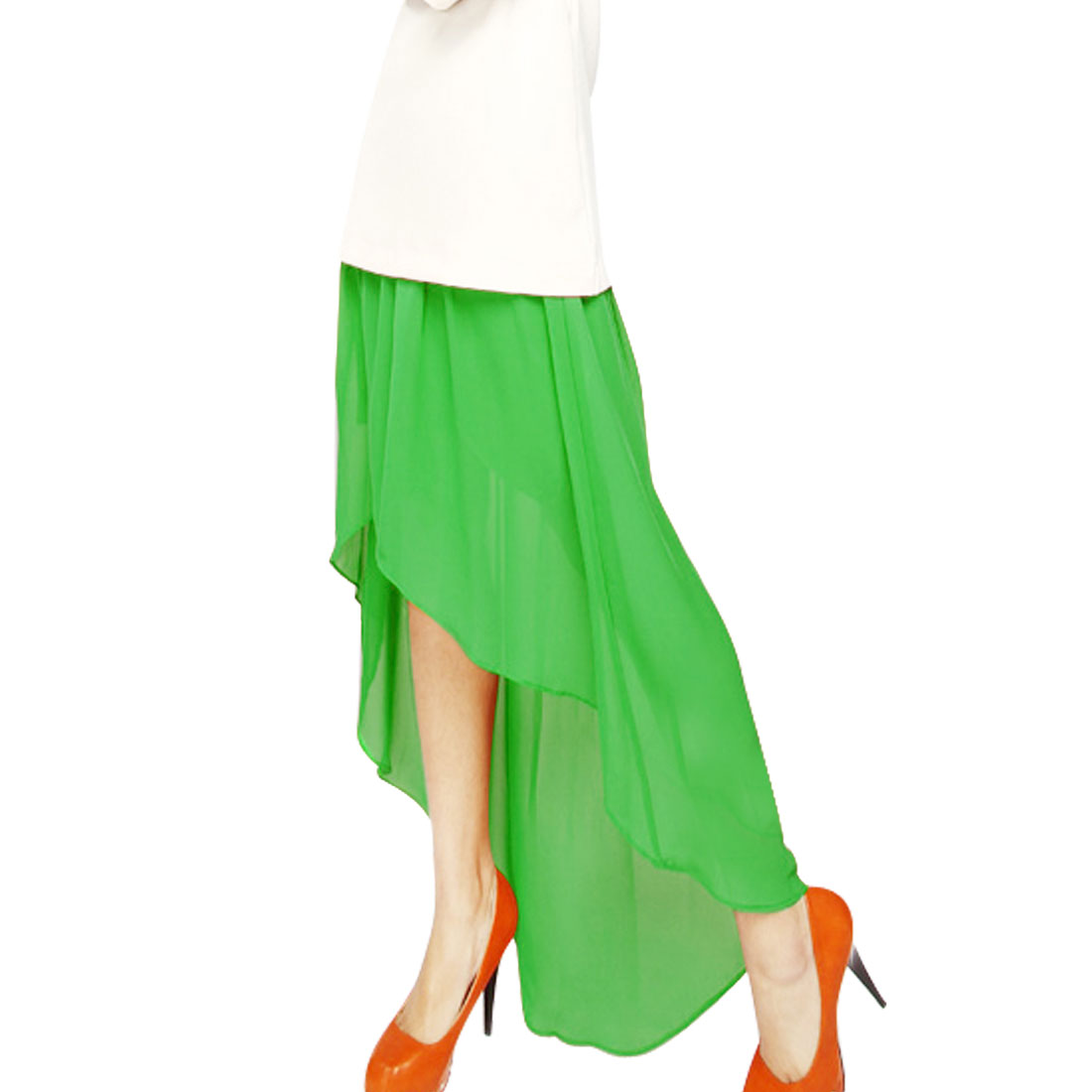 Soft Lining Layer Semi Sheer Green Asymmetrical Skirt XS for Lady