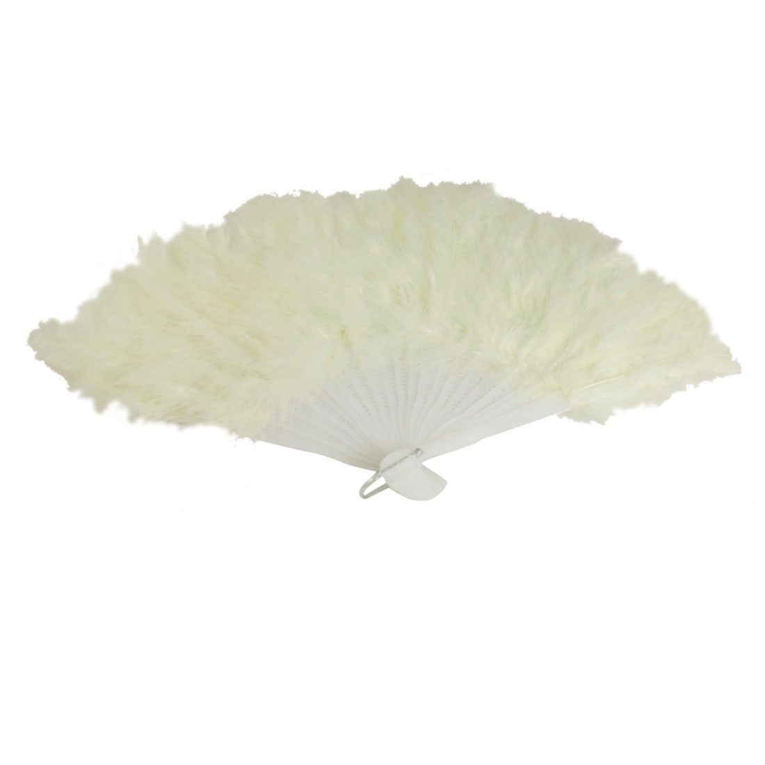White 22 Plastic Ribs Folded Hand Feather Fan
