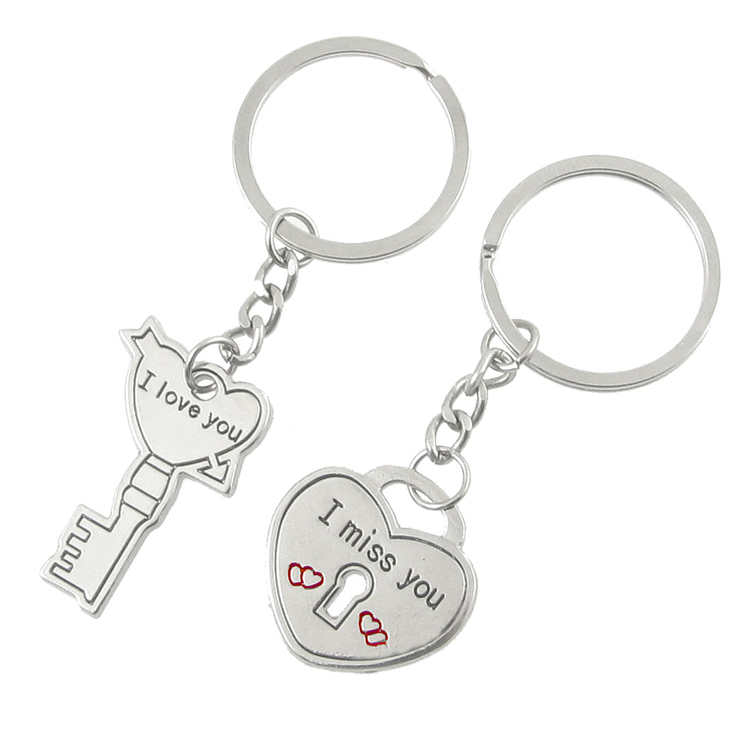 2 Pcs Couple Love Key Heart Shape Chain Keychain Silver Tone