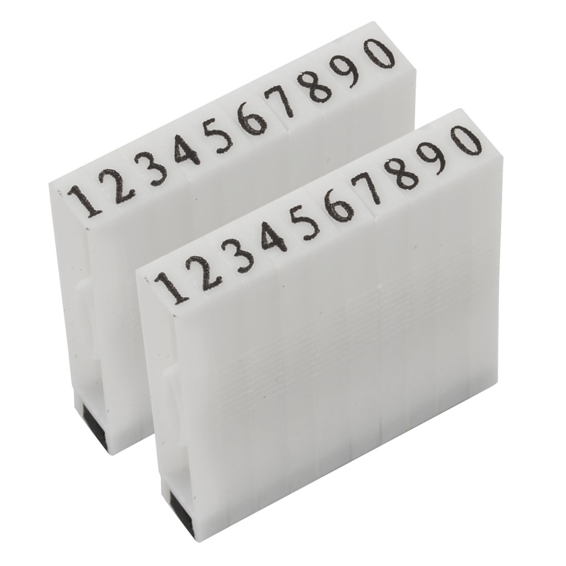 2 Pcs Detachable 0-9 Digits Arabic Numerals Plastic Stamp Set
