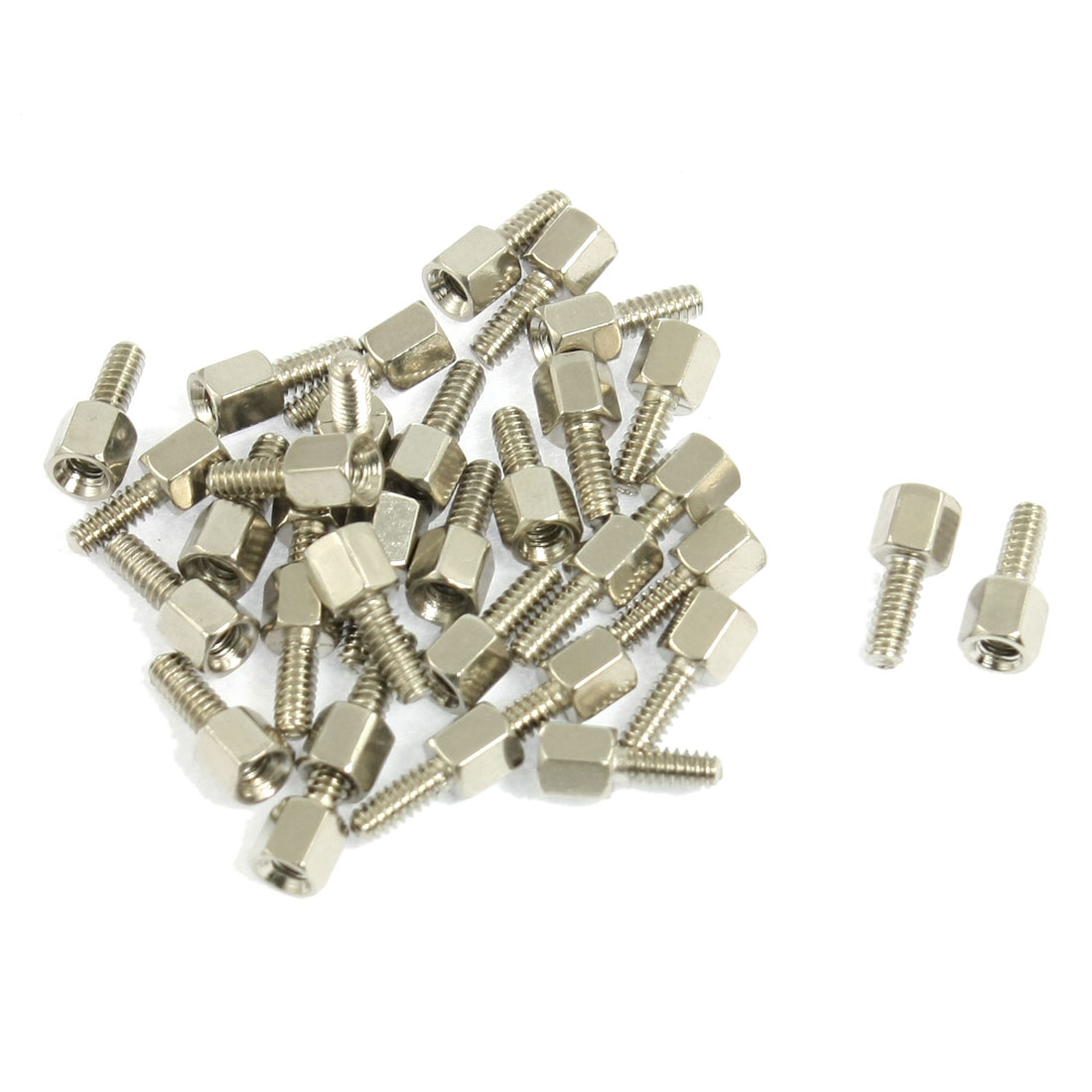 33 Pcs Silver Tone 2.6mm Male 2.3mm Female Screw Thread PCB Stand-off Spacer