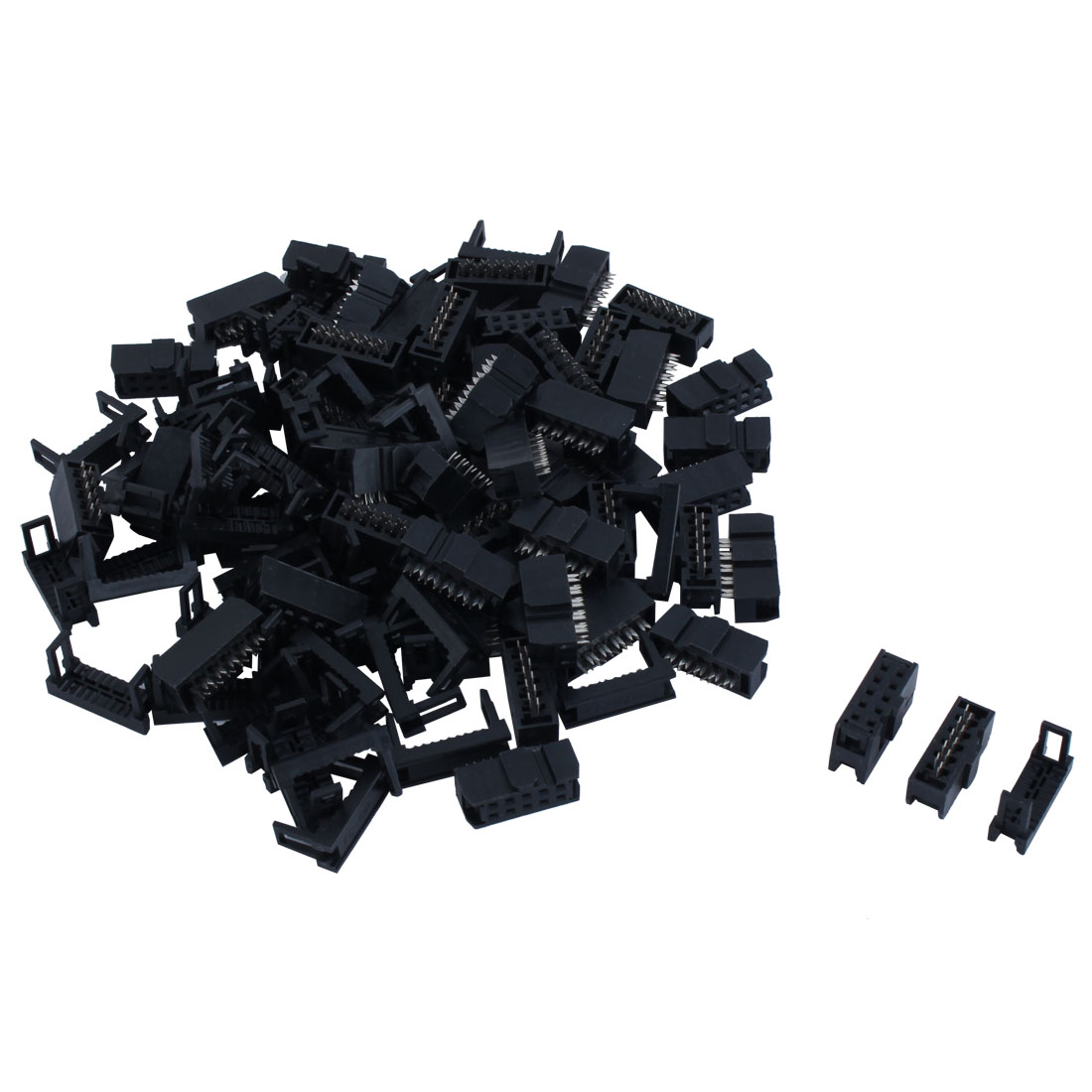 50 Pcs 2.54mm Pitch 10 Pin IDC Header w Strain Relief for Flat Ribbon Cable