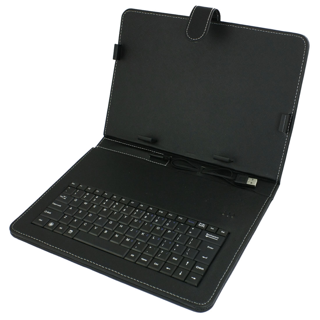 "Faux Leather Case USB Keyboard + Stylus for 10"" Screen Android Tablet"