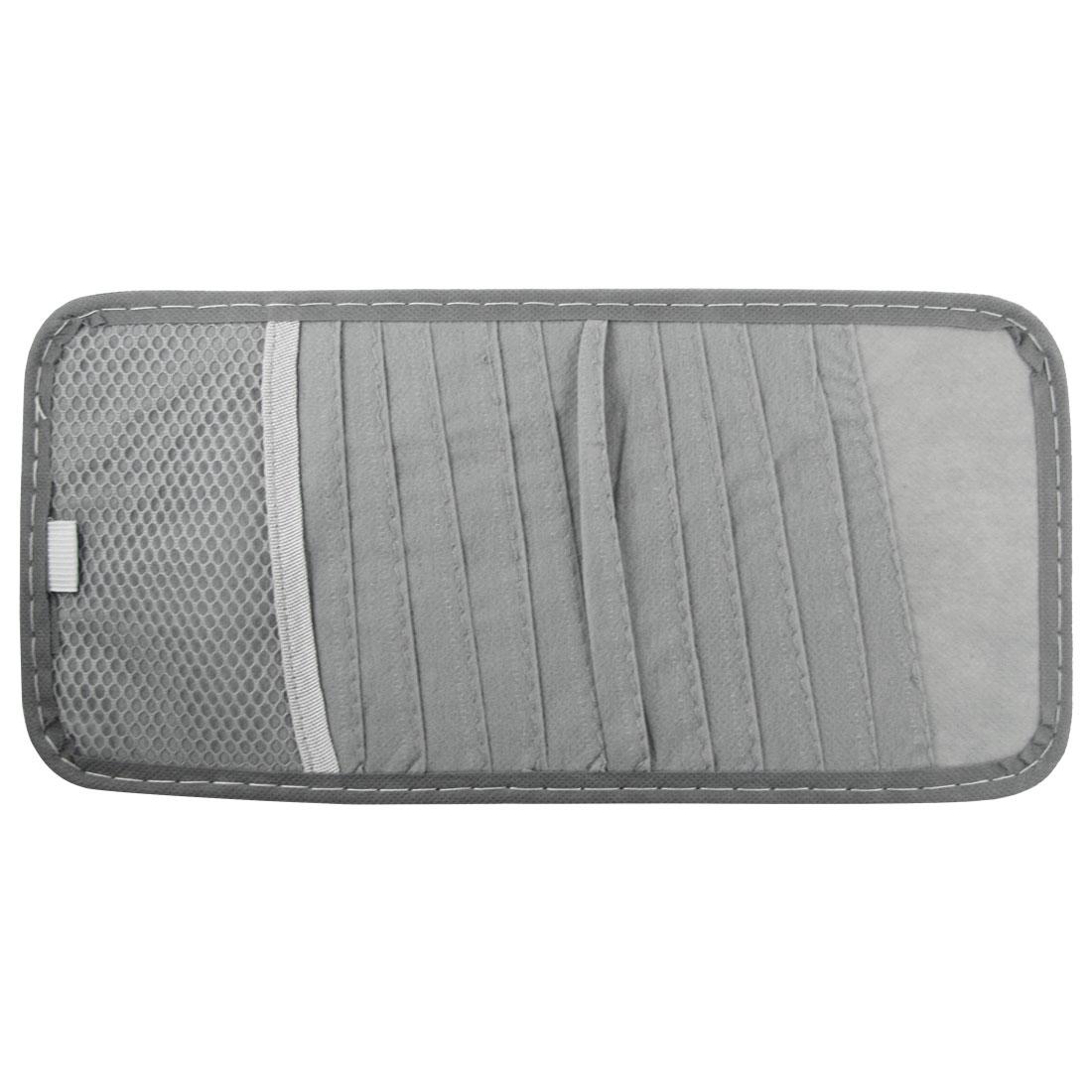 Gray Sun Visor CD Holder Case 12 Compartments for Car Auto