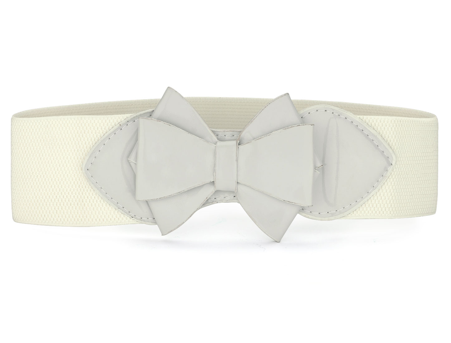 Faux Leather Bowknot Decor Stretchy Waist Belt Off White for Women
