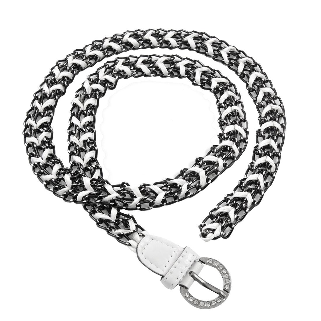 Women Rhinestone Decor Buckle Black Aluminum Braided Faux Leather Waist Belt