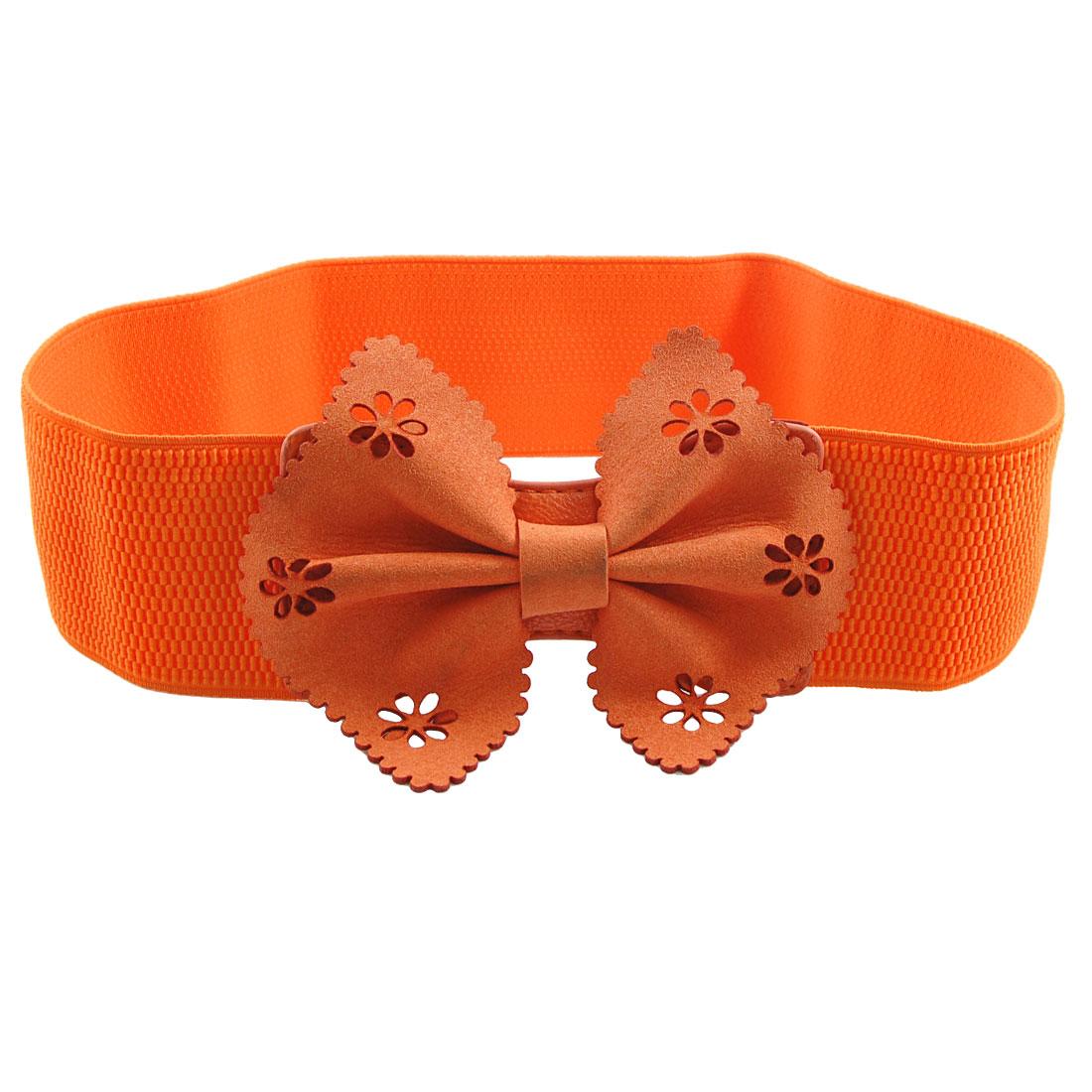 Women Foam Bowknot Decor Press Stud Button Elastic Waist Belt Orange