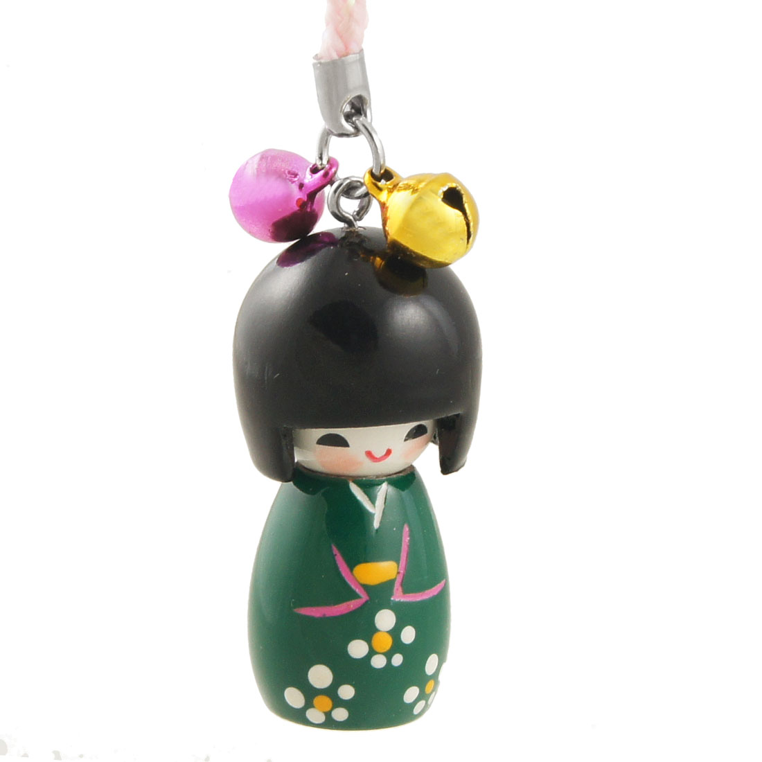Black Dark Green Japanese Doll Pendant Cell Phone Strap Charm w Light Pink String