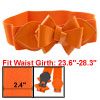 Faux Leather Bowknot Decor Stretchy Waist Belt Orange for Women