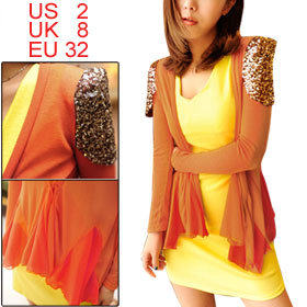 Ladies Orange Long Sleeve Front Opening Sequin Shoulder Blazer XS