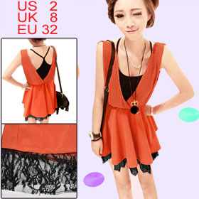 Orange Pleated Upper Sleeveless Lace Hem Tank Shirt XS for Women