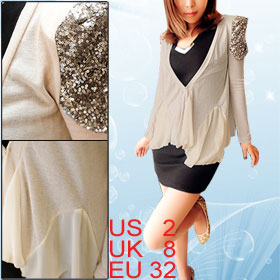 Lady Beige Open Front Sequin Shoulder Patchwork Long Sleeve Coat XS