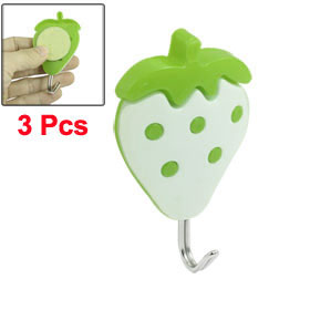 3 Pcs 2 Colors Plastic Strawberry Adhesive Wall Hook Hanger 2kg Load