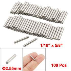 "100 Pcs Stainless Steel 1/10"" x 5/8"" Cylinder Dowel Pins Fasten Elements"
