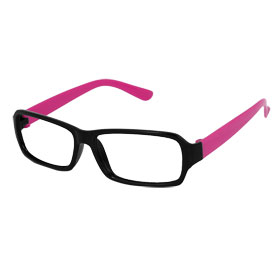 Women Black Full Rim Hot Pink Arms Plastic Rectangular No Lens Glasses Frame