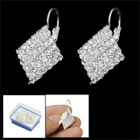 Women Silver Tone Faux Rhinestone Rhombus Ear Hoop Earrings Eardrop