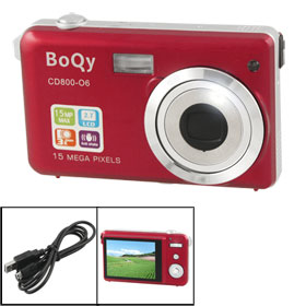 Boqy CD800-06 15.0 MP 3X Optical Zoom Built in Flash Digital Camera Red