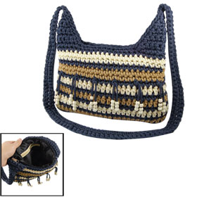 Women Tricolor Stripe Pattern Navy Blue Strap Nylon Knitted Shoulder Bag