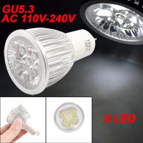 AC 110-240V 5W LED White GU5.3 Bulb Spot Light 6000K