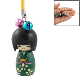 Black Dark Green Japanese Doll Pendant Cell Phone Strap w Yellow String