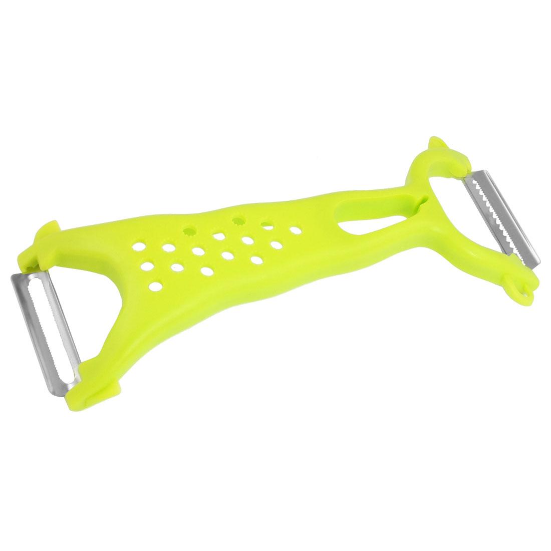 Nonslip Green Plastic Handle Stainless Steel Vegetable Fruit Grater Peeler