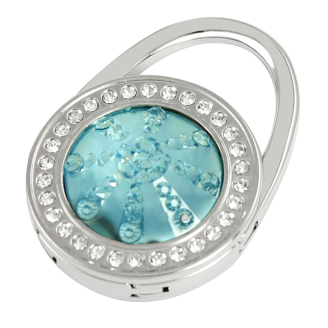 Baby Blue Glittery Rhinestone Round Design Decor Foldable Handbag Hook for Women