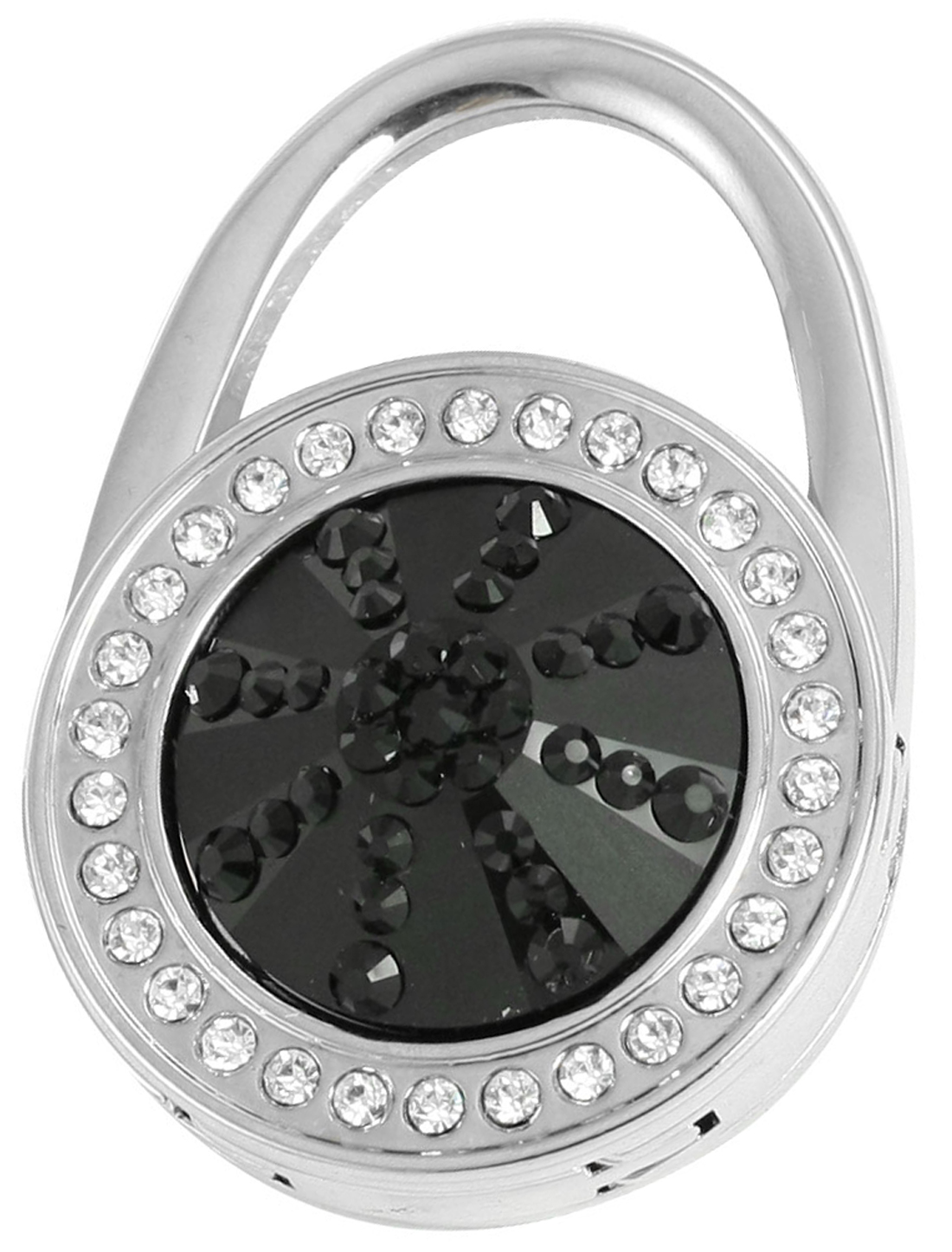 Glittery Rhinestone Black Round Shape Foldable Handbag Hook Hanger for Ladies