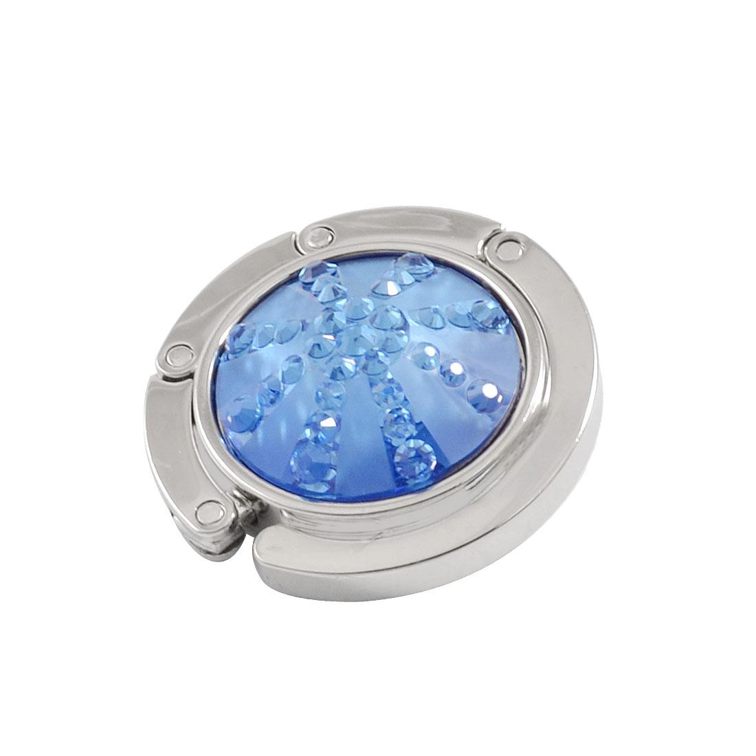 Blue Plastic Crystal Rhinestones Detail Round Hook Handbag Hanger