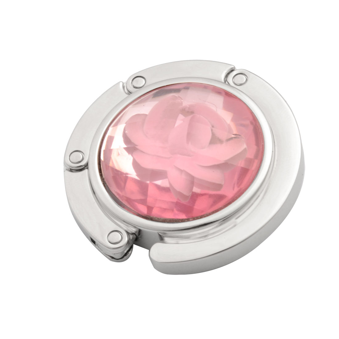 Foldable Rose Pattern Pink Plastic Crystal Decor Handbag Hanger