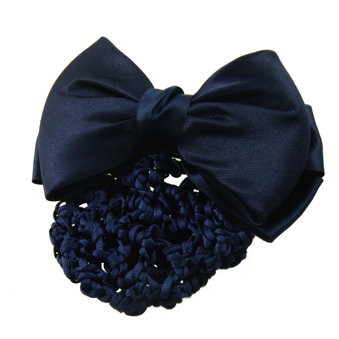 Blue Nylon Polyester Bowknot Barrette Hair Clip w Snood Net