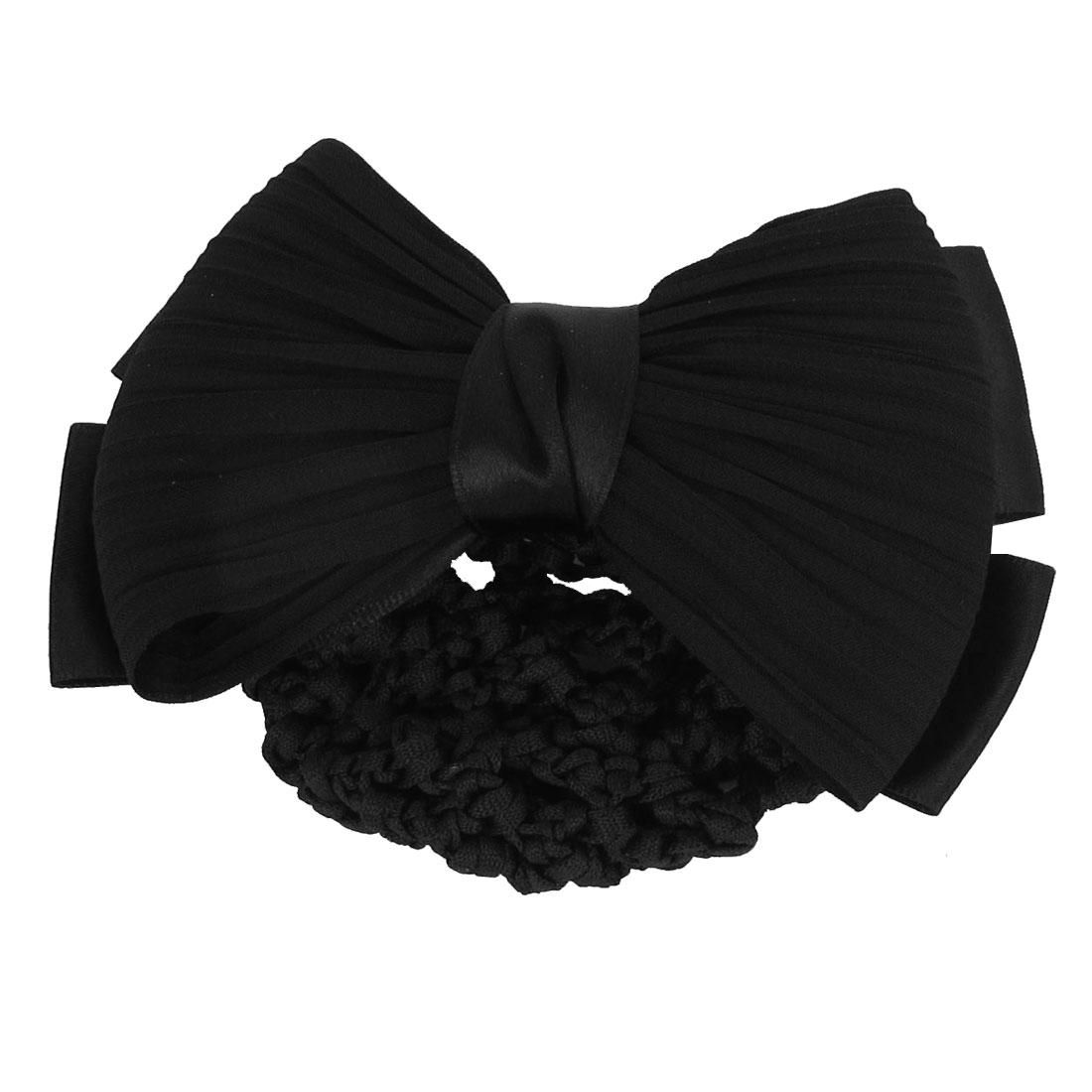 Black Bowknot Decor Snood Net Barrette Hair Clip Bun Cover
