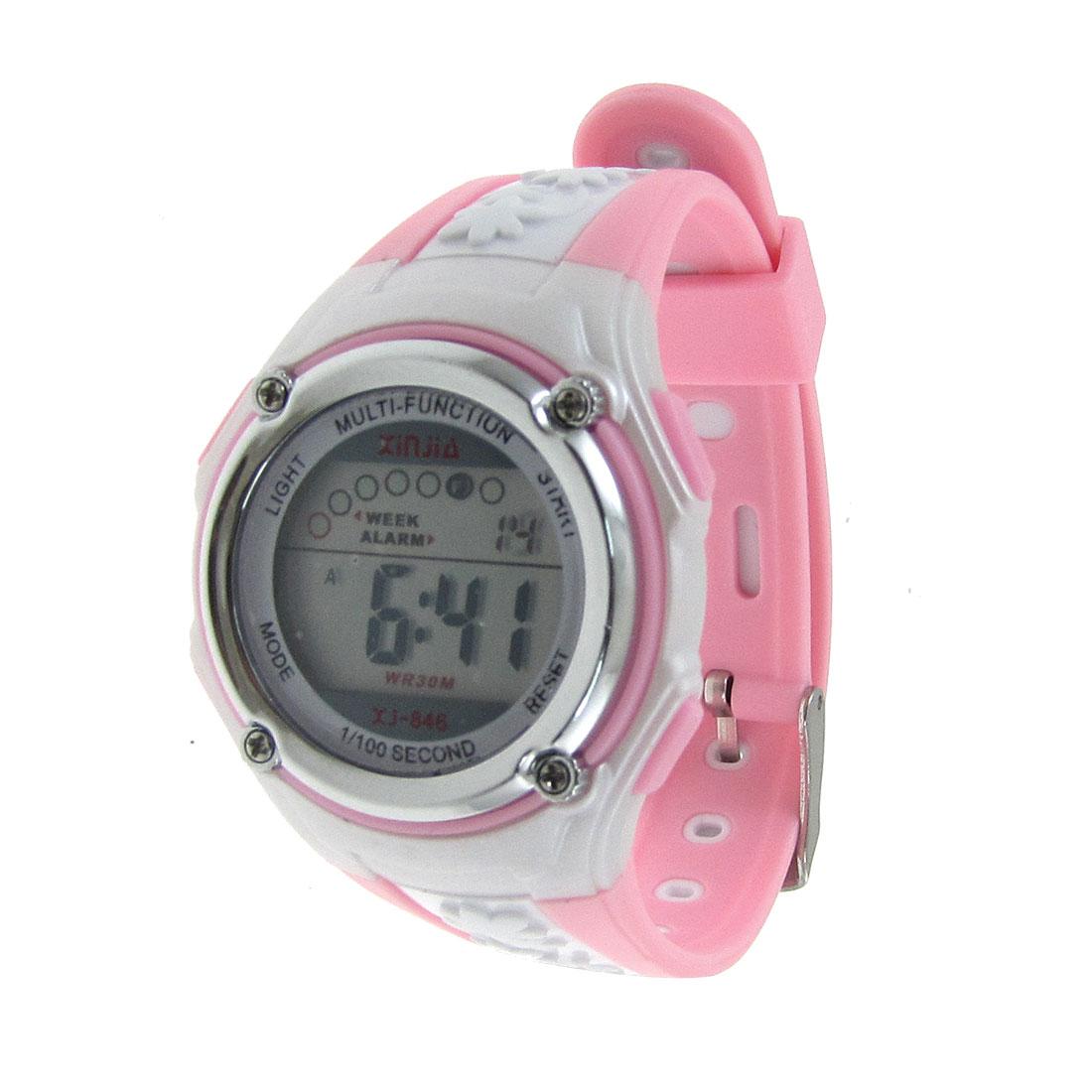 Children Pink White Flower Pattern Band Round Dial Sports Watch