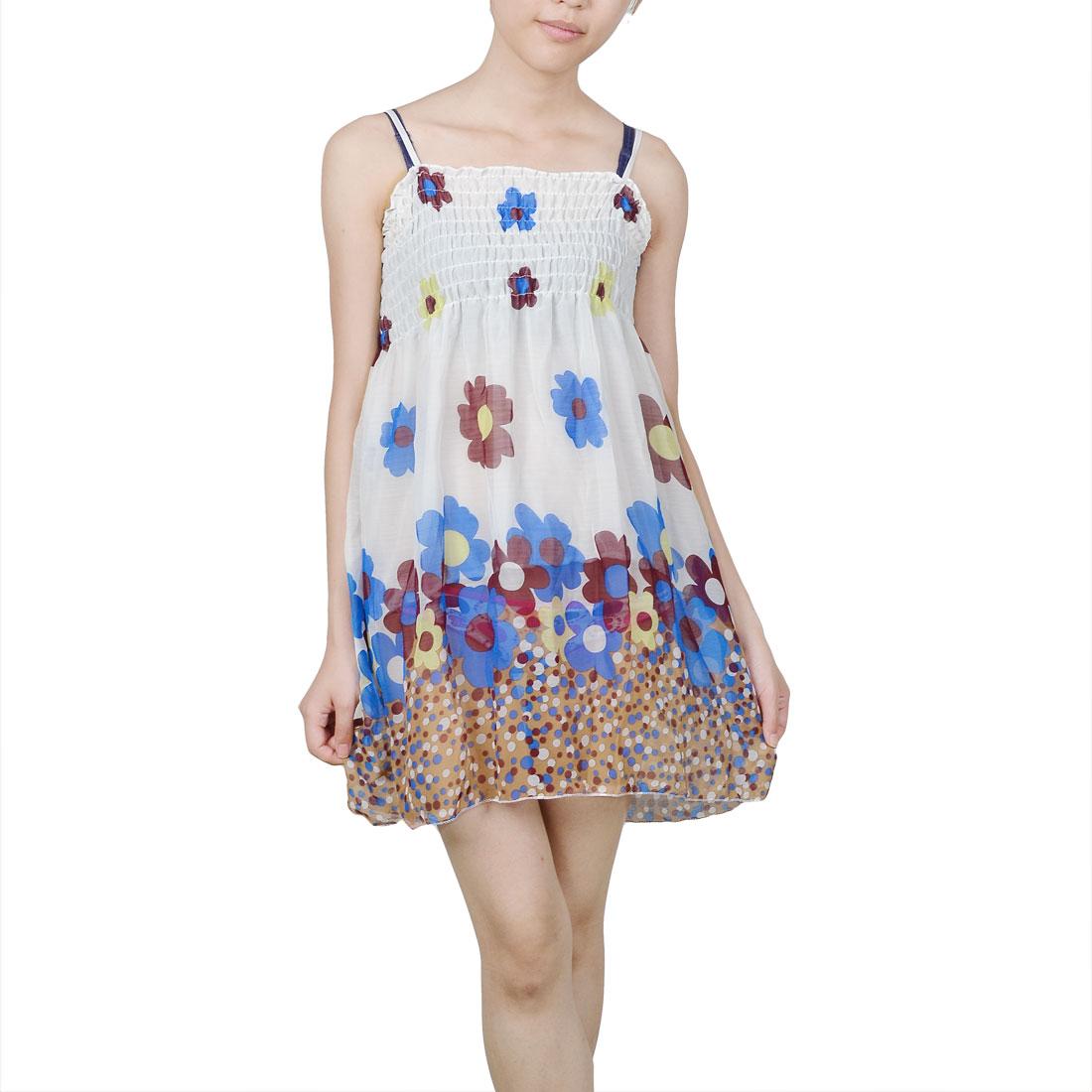 Women Blue Flower Pattern Adjustable Straps White Chiffon Mini Dress XS
