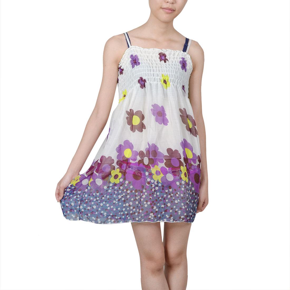 Lady Purple Flower Pattern Spaghetti Straps White Chiffon Dress XS