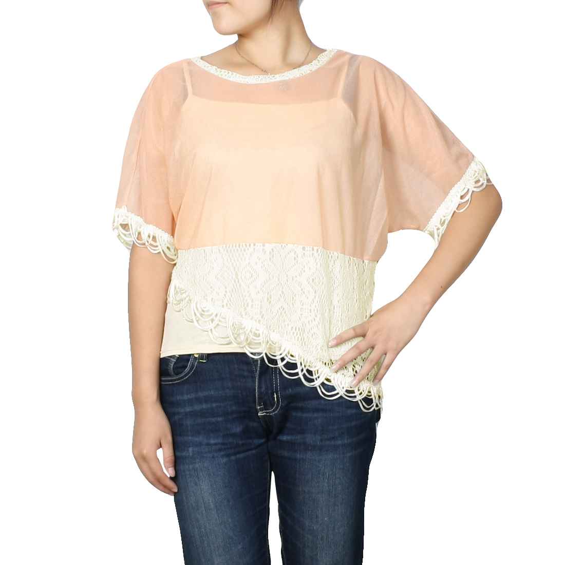 Women Salmon Pink Scoop Neck Bat Sleeve Semi Sheer Shirt Top XS