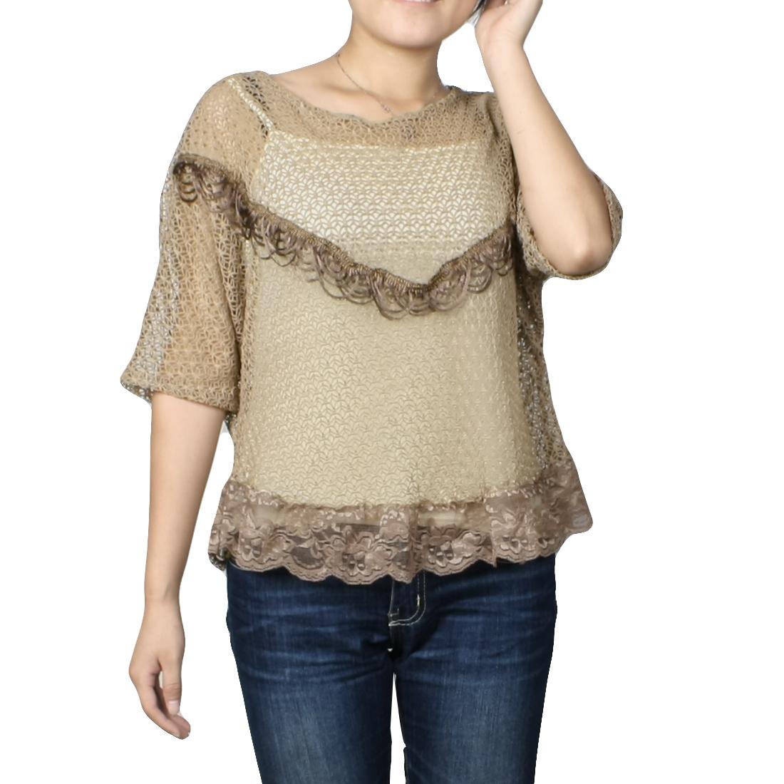 Women Cape Style Tassels Decor Bat Sleeve Loose Shirt Brown XS