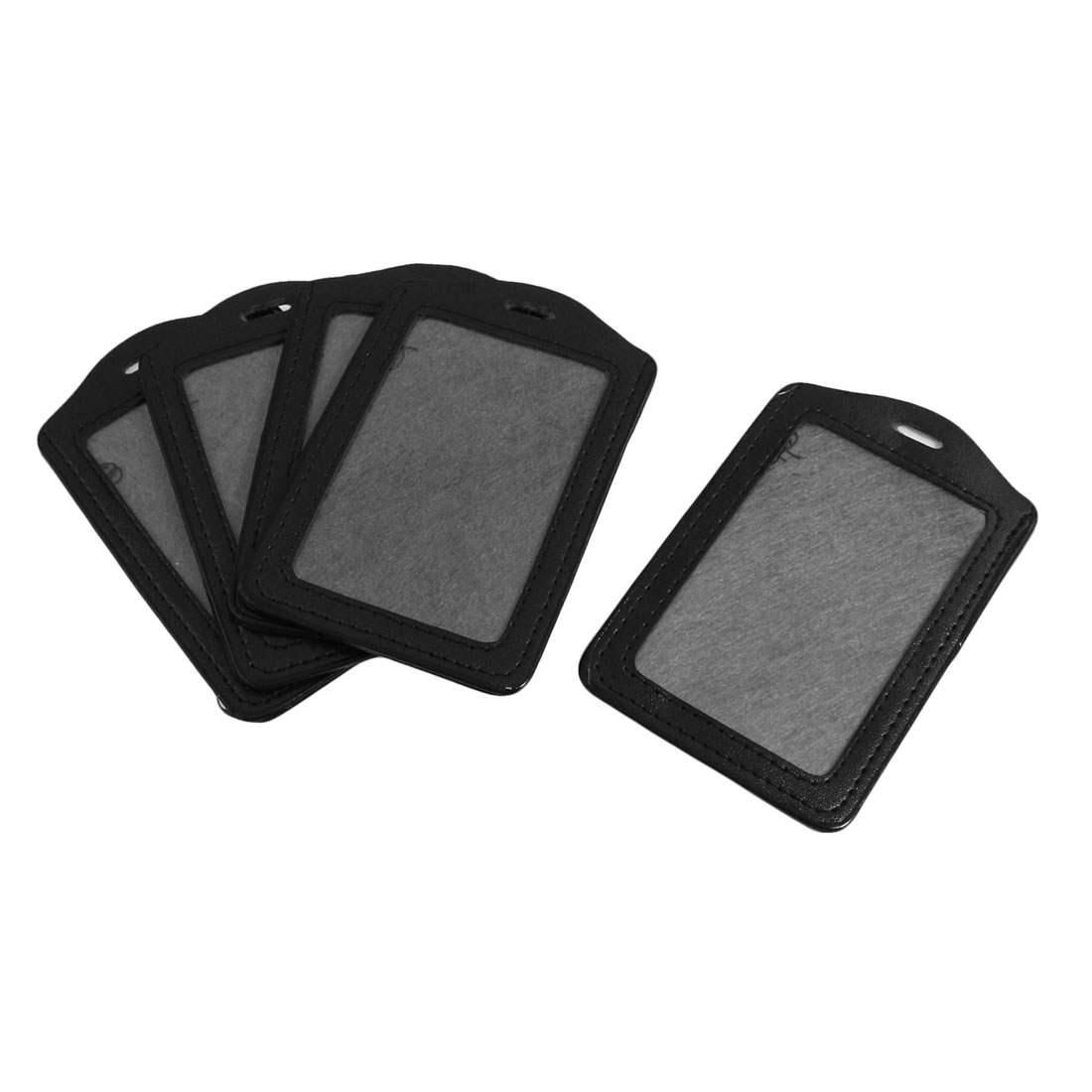 5 Pcs Black Faux Leather Vertical Design Name Badge ID Card Holder