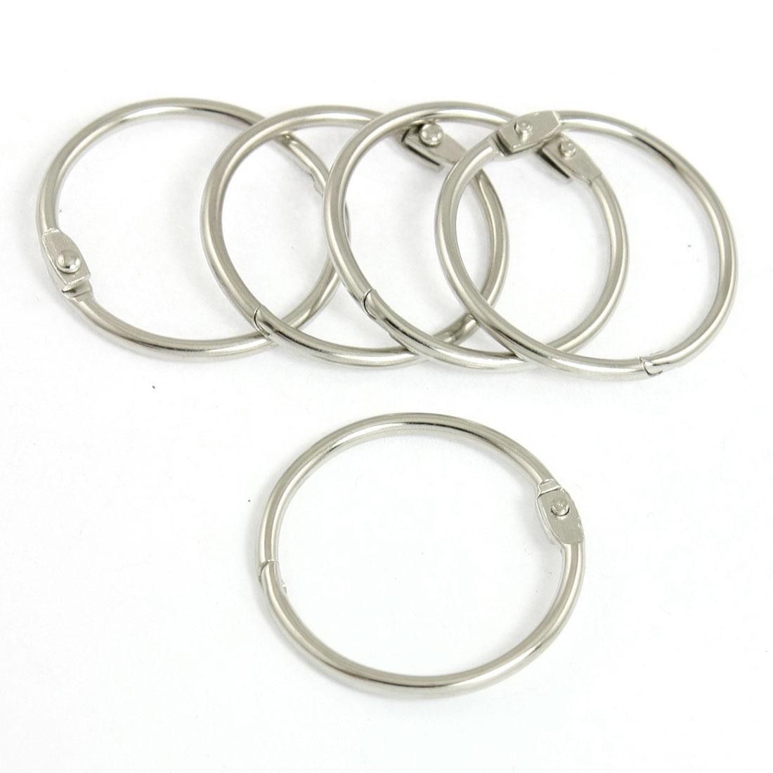 5 Pcs Silver Tone Metal Clip Design Key Chain Keyring 3.2cm Dia