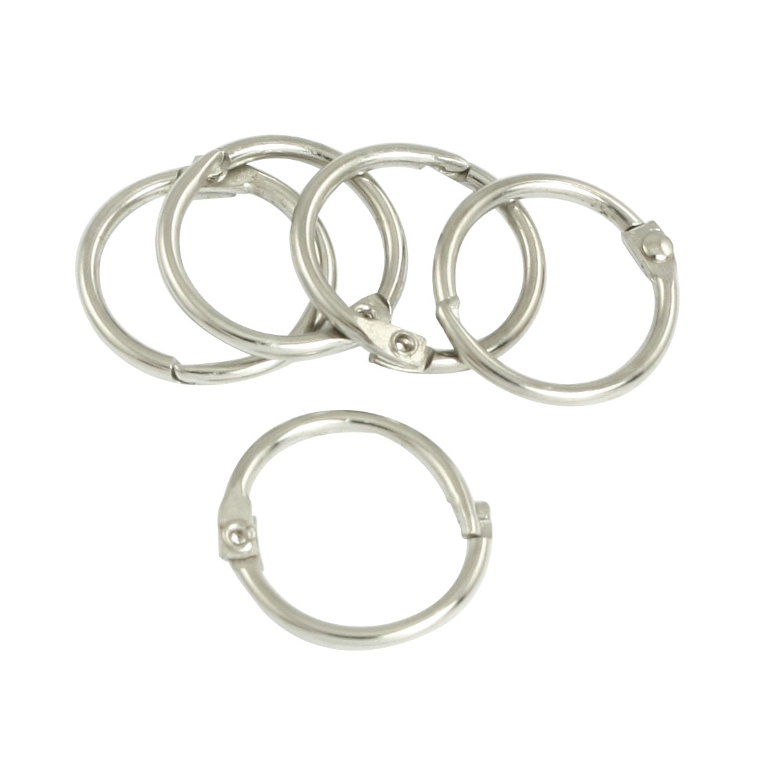 "5 Pcs 0.7"" Dia Round Shape Metal Clip Key Chain Keyring"
