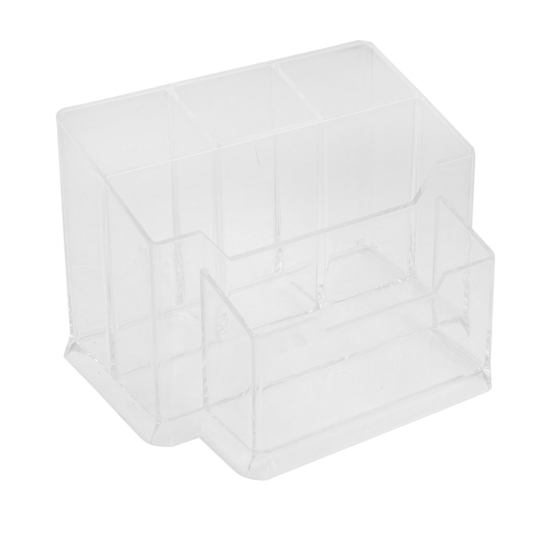 Clear Plastic 5 Sections Muti Function Pen Holder Desk Organizer