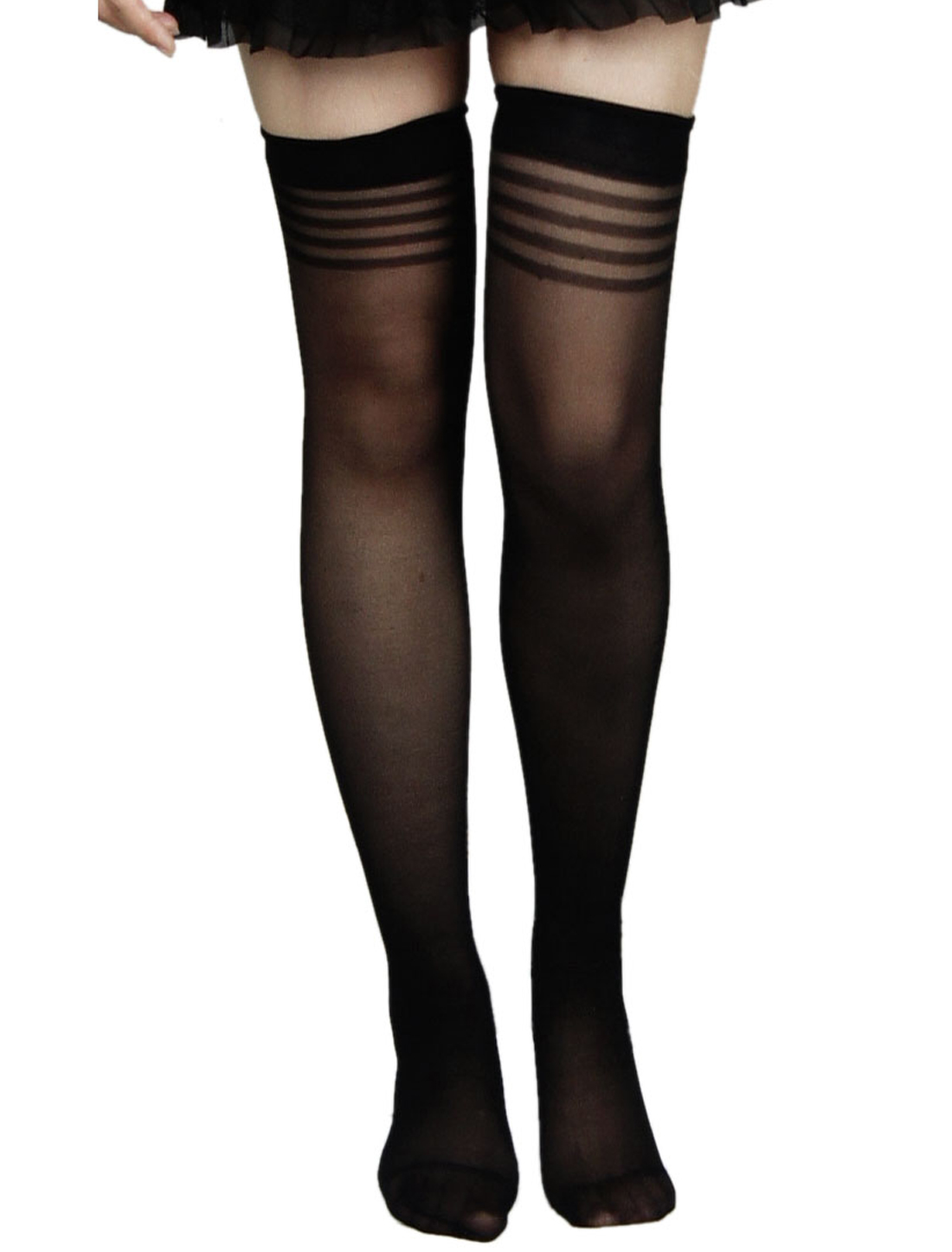 Woman Black Stretchy Sheer Sexy Thigh High Socks Stockings