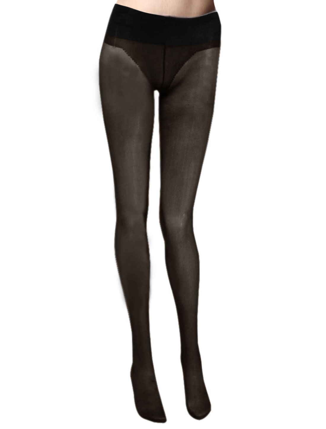 Women Black Elastic Waist Sheer Pantyhose Tights XS