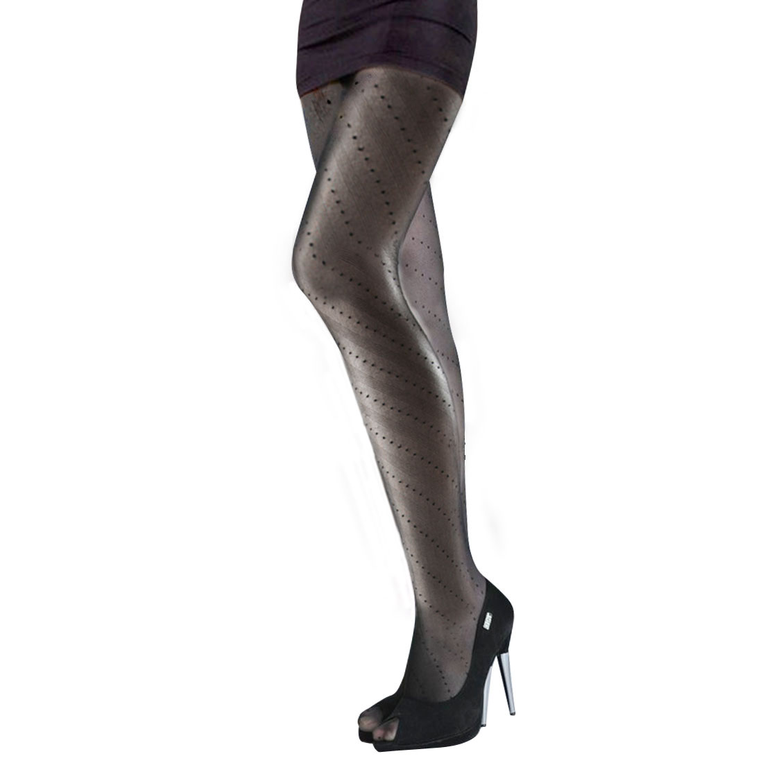 Woman Black Stretchy Stripe Dots Pattern Sheer Sexy Pantyhose Tights XS