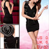 Woman Crossover Deep V Neck Double Zipper Black Tank Dress XS