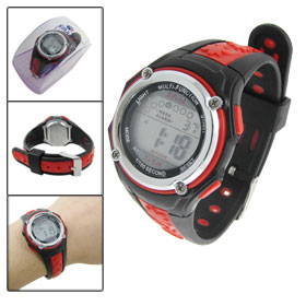 Black Red Soft Plastic Wristband Round Dial Sports Digital Watch for Lady