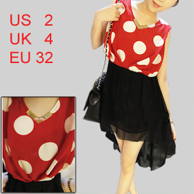 Ladies V Neck Sleeveless Dots Upper Irregular Hem Semi Sheer Dress Black Red XS